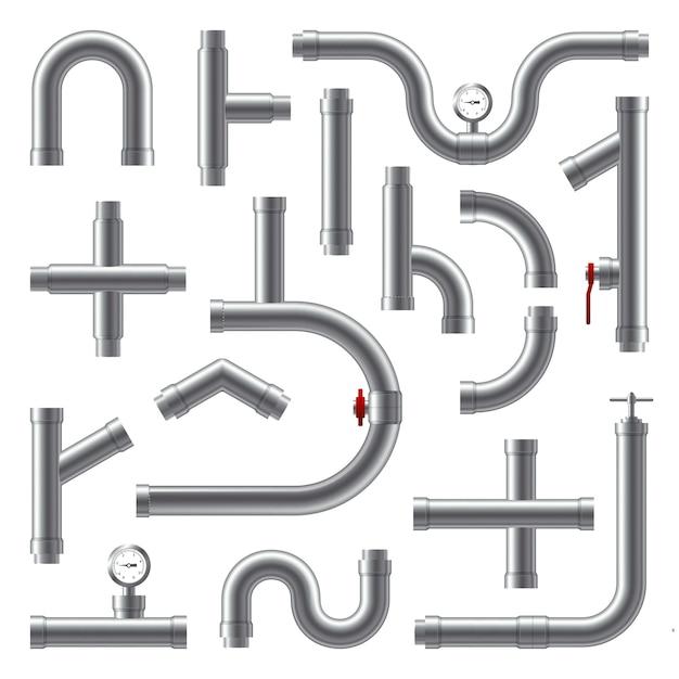 Set realistico di tubi Vettore gratuito