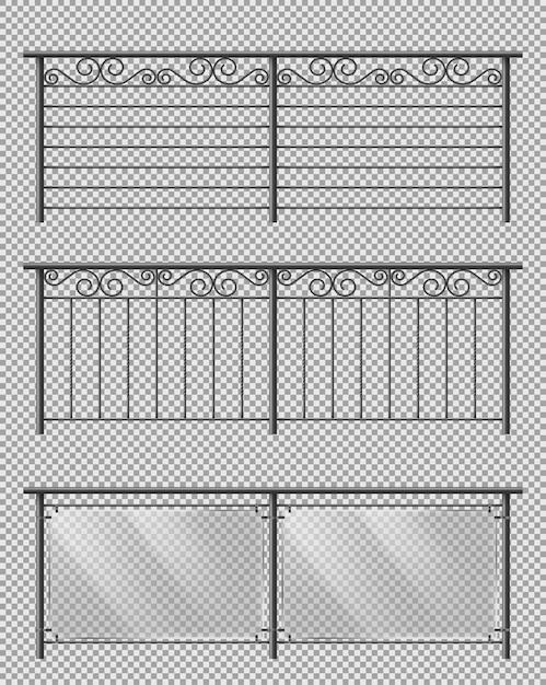 Set realistico di vettore di corrimano di vetro e metallo Vettore gratuito