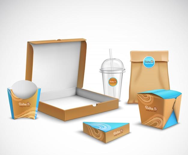 Set realistico per l'imballaggio di fast food Vettore gratuito