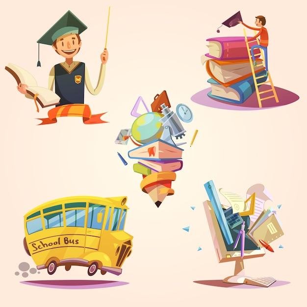 Set retrò di educazione dei cartoni animati Vettore gratuito