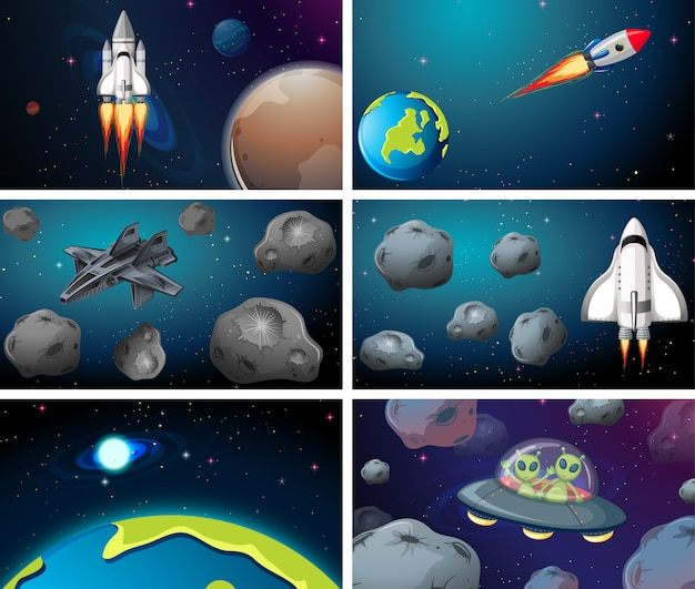 Set scena di ampio spazio Vettore gratuito