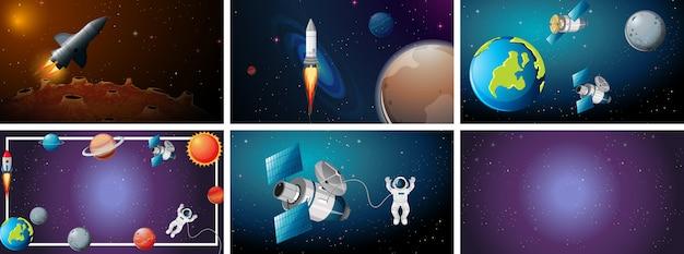 Set scena di grande spazio Vettore gratuito
