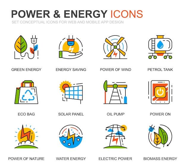 Set semplice di energia elettrica ed energia linea icone per sito web Vettore Premium