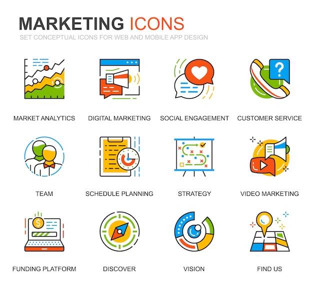 Set semplice di icone di linea di affari e marketing per sito web Vettore Premium