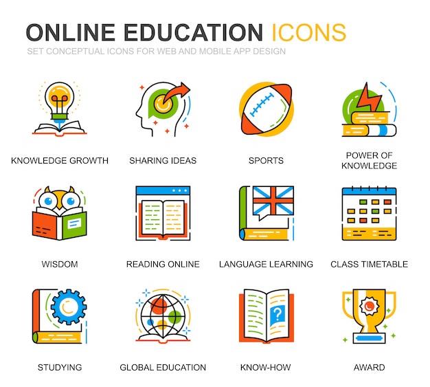 Set semplice istruzione e icone di linea di conoscenza per sito web Vettore Premium