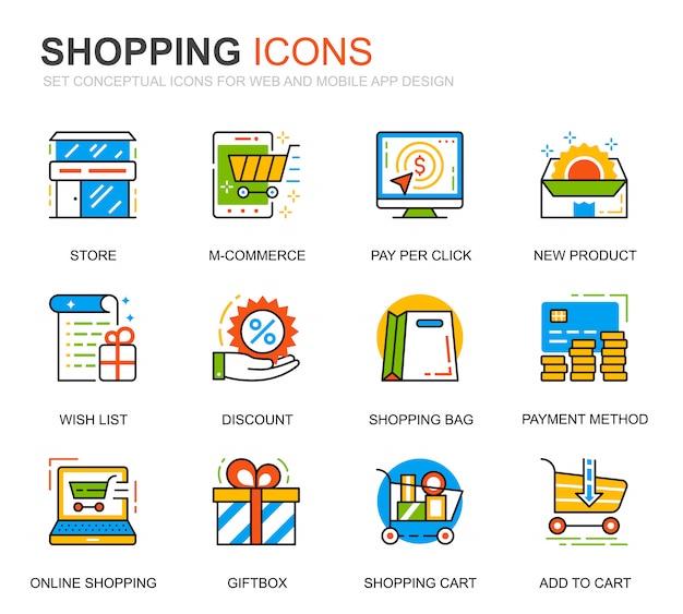 Set semplice shopping e icone di linea e-commerce per sito web Vettore Premium