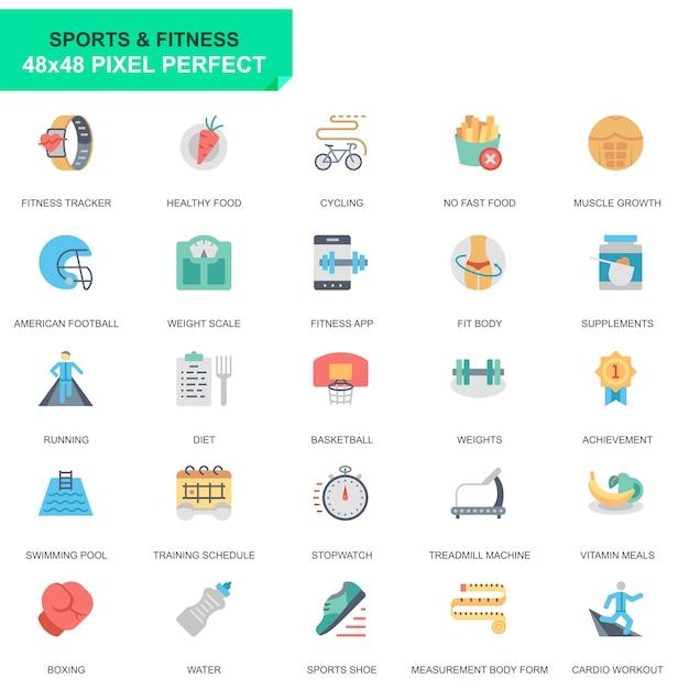 Set semplice sport e icone piane di fitness Vettore Premium