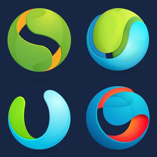 Set sfera astratta. Vettore Premium