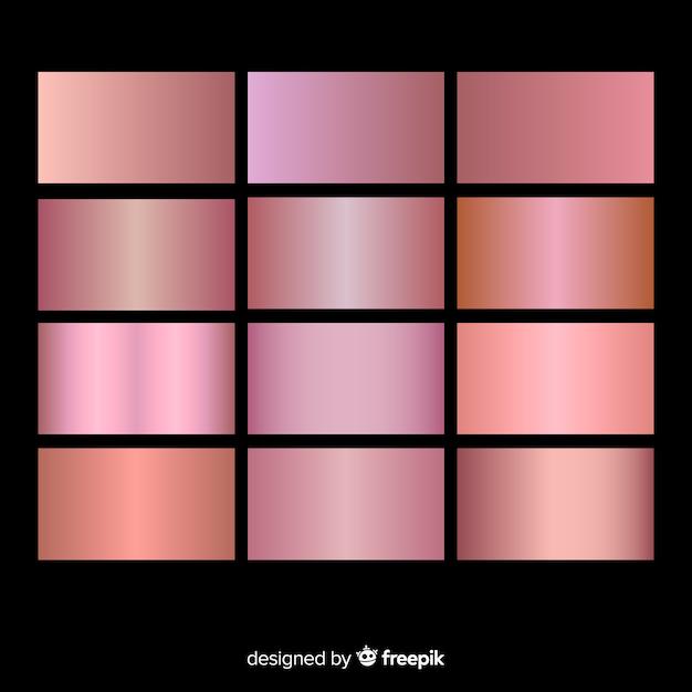 Set sfumatura oro rosa trama metallizzato Vettore gratuito
