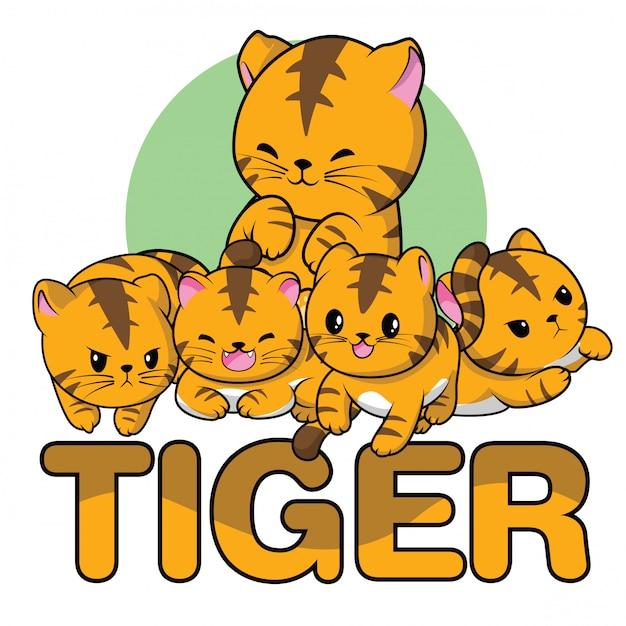 Set simpatico cartone animato di tigre Vettore Premium