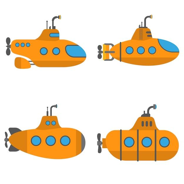 Set sottomarino periscope, stile piatto Vettore Premium