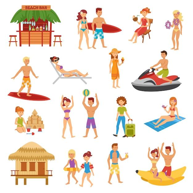 Set spiaggia piatta Vettore gratuito