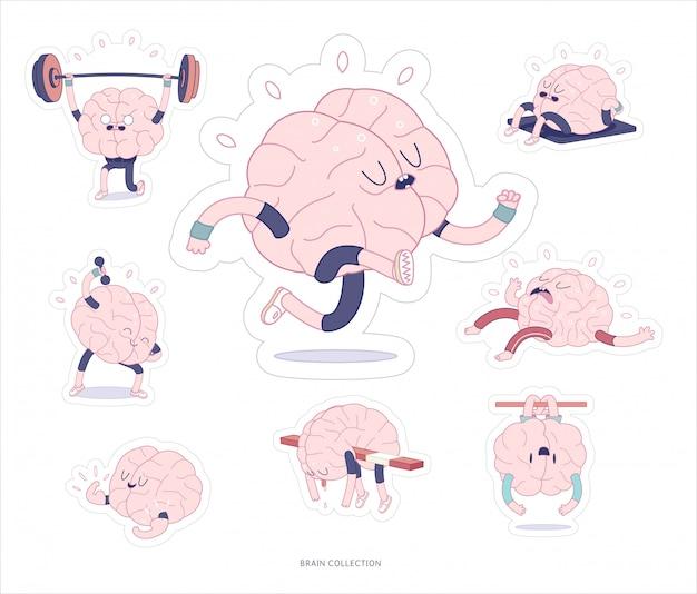 Set stampabile di adesivi di cervello Vettore Premium