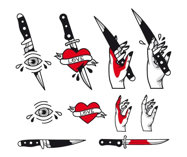 Set stile tatuaggio tradizionale - cuori, coltello, occhio, mano, nastri. Vettore Premium