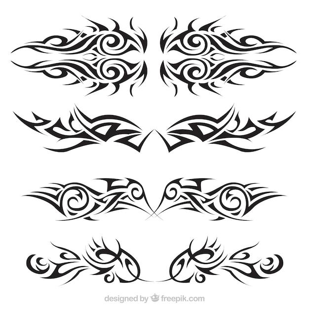 Set tatuaggi tribali Vettore gratuito