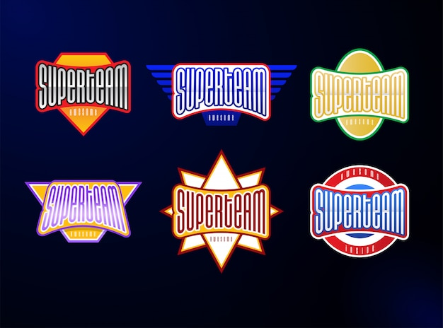 Set tipografia emblema dello sport Vettore Premium