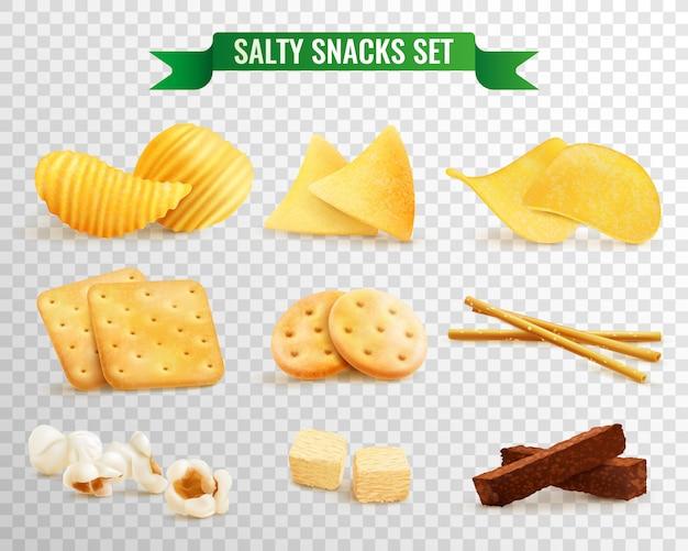 Set trasparente di snack croccanti Vettore gratuito