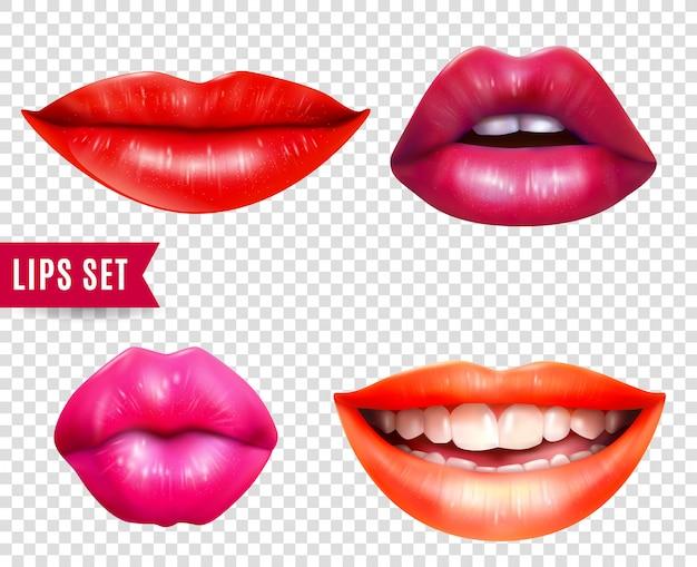 Set trasparente labbra Vettore gratuito