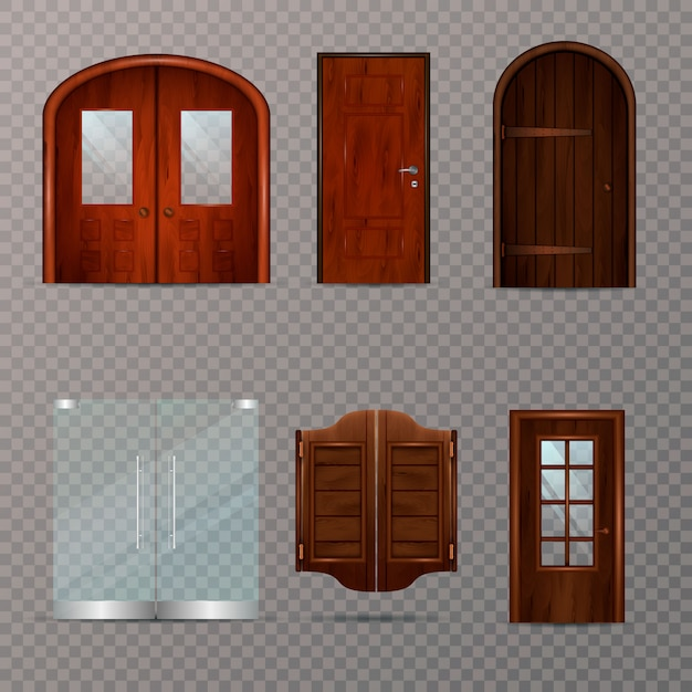 Set trasparente porte d'ingresso Vettore gratuito