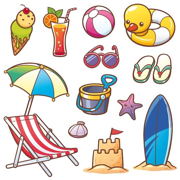 Set vacanze estive Vettore Premium