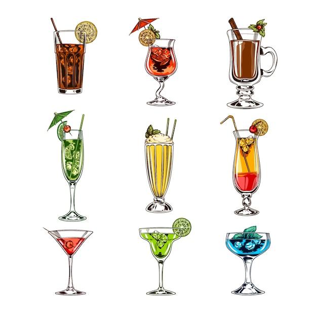 Set vettore di bicchieri da cocktail scaricare vettori for Cocktail 102