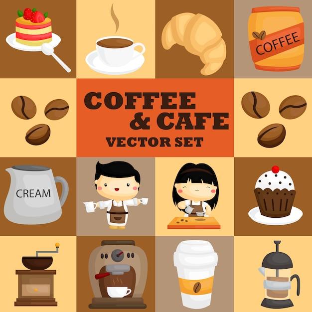 Set vettoriale caffè e caffè Vettore Premium