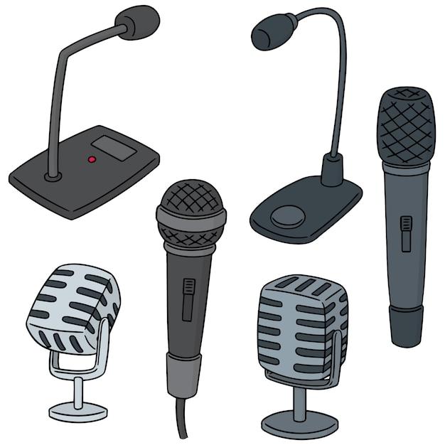 Set vettoriale del microfono Vettore Premium