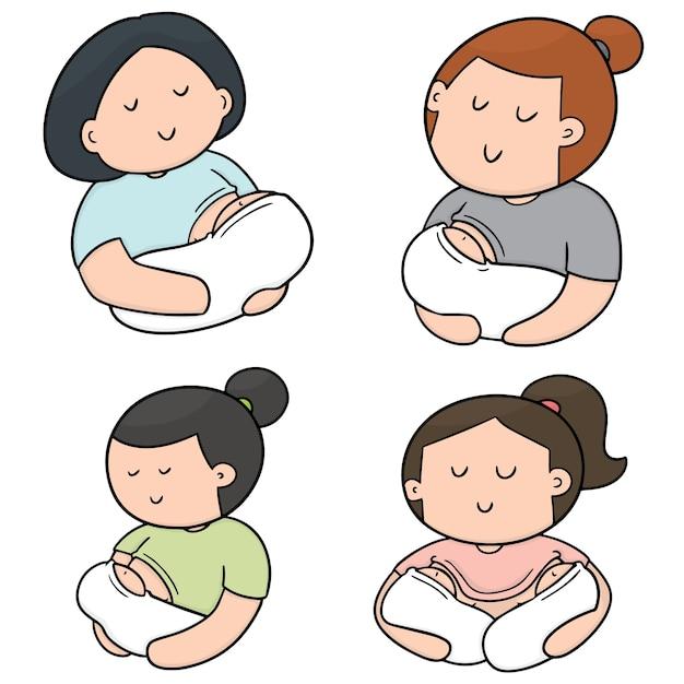 Set vettoriale di allattamento madre e bambino Vettore Premium