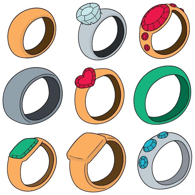 Set vettoriale di anello Vettore Premium