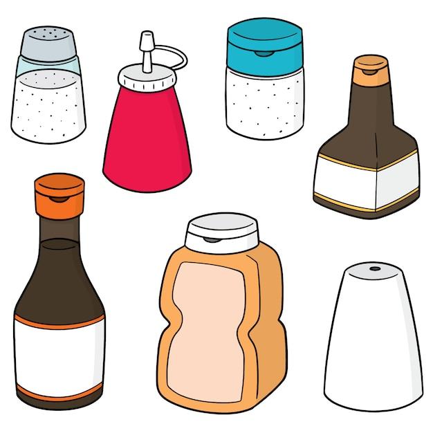 Set vettoriale di bottiglie di condimento Vettore Premium
