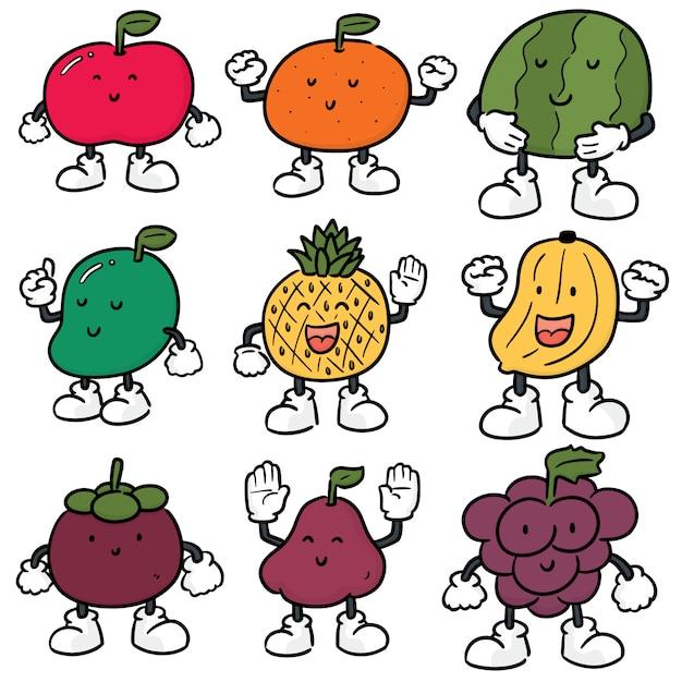 Set vettoriale di frutta Vettore Premium