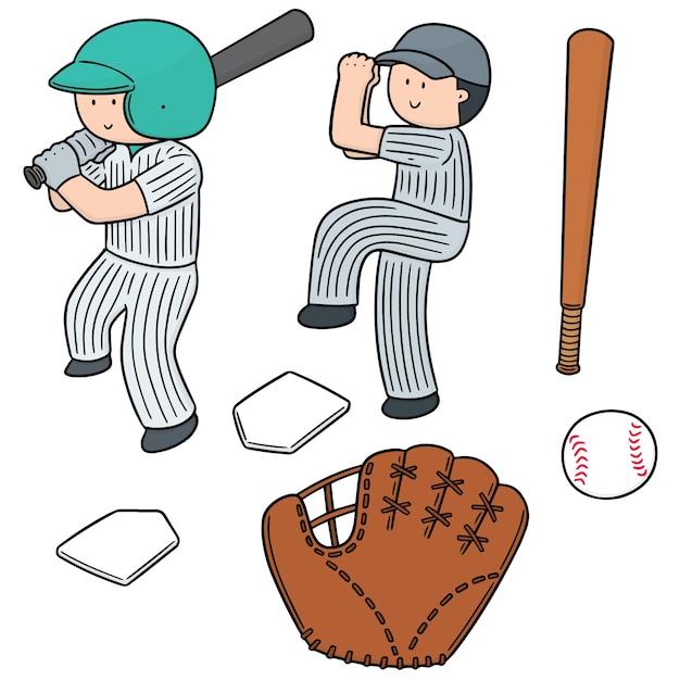 Set vettoriale di giocatore di baseball e attrezzature da baseball Vettore Premium