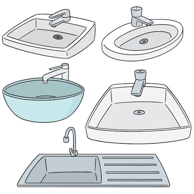 Set vettoriale di lavello Vettore Premium