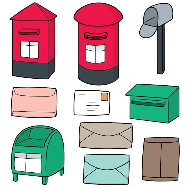 Set vettoriale di postbox Vettore Premium