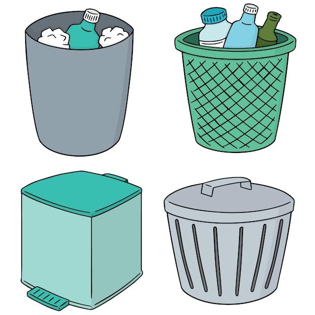 Set vettoriale di riciclare spazzatura Vettore Premium