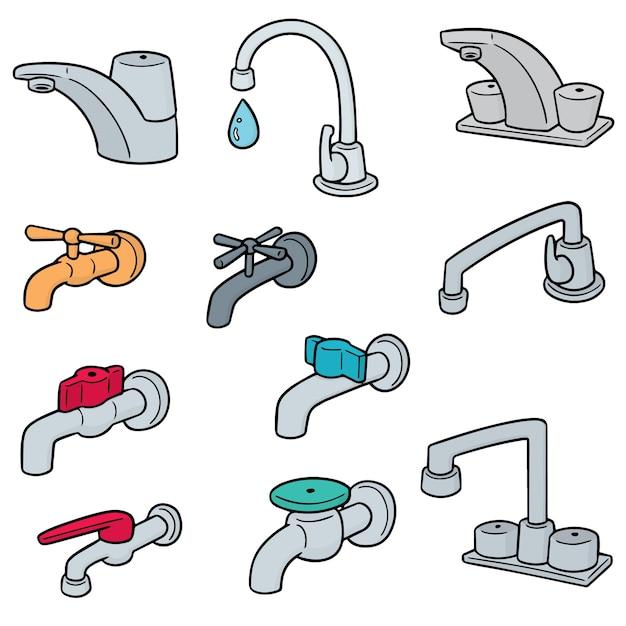 Set vettoriale di rubinetto Vettore Premium