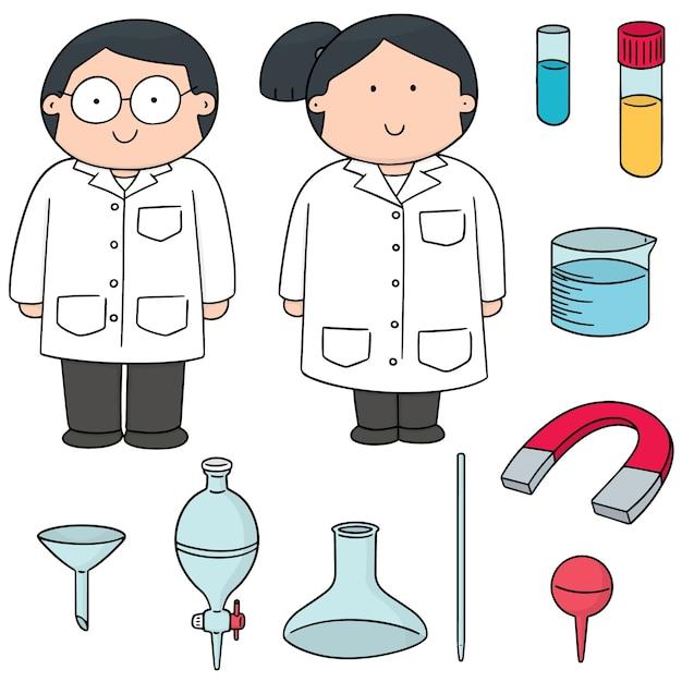 Set vettoriale di scienziato e attrezzature di laboratorio Vettore Premium