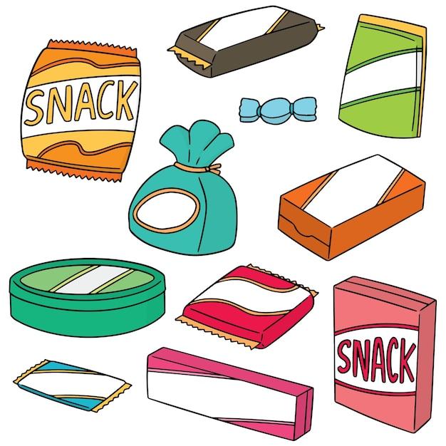 Set vettoriale di snack Vettore Premium