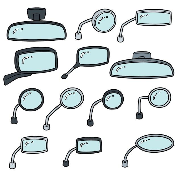 Set vettoriale di specchietti retrovisori Vettore Premium