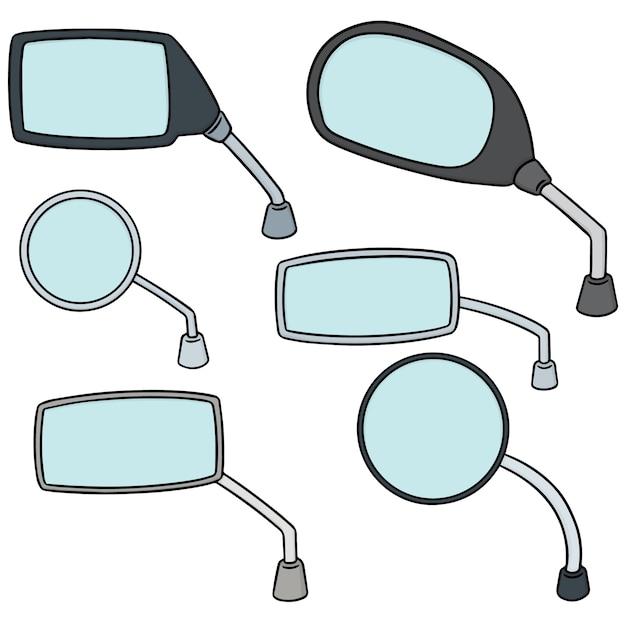 Set vettoriale di specchietto retrovisore Vettore Premium