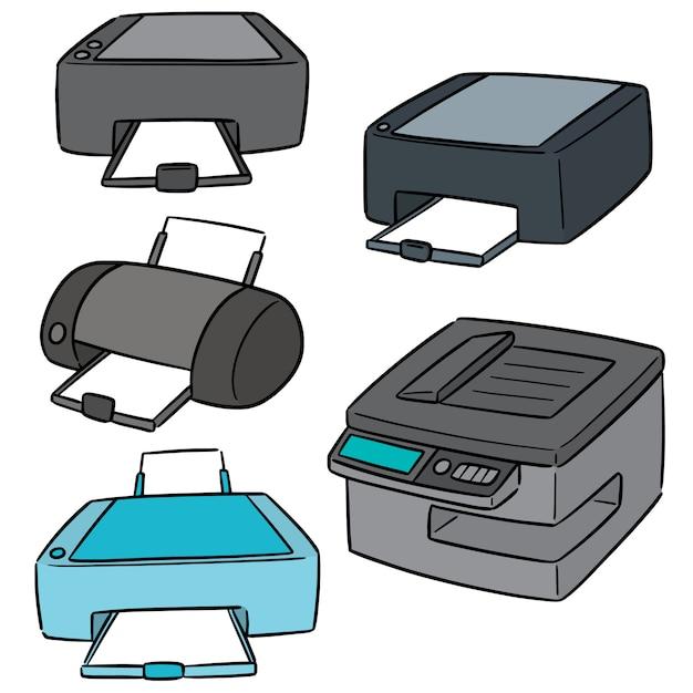 Set vettoriale di stampante Vettore Premium