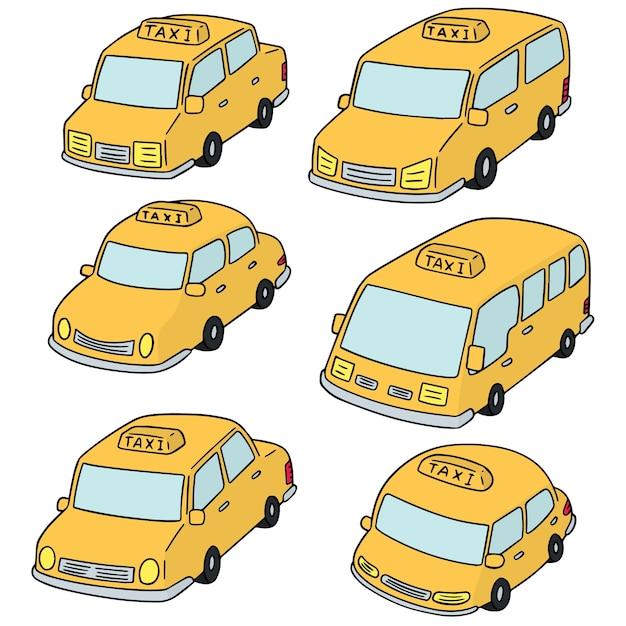 Set vettoriale di taxi Vettore Premium
