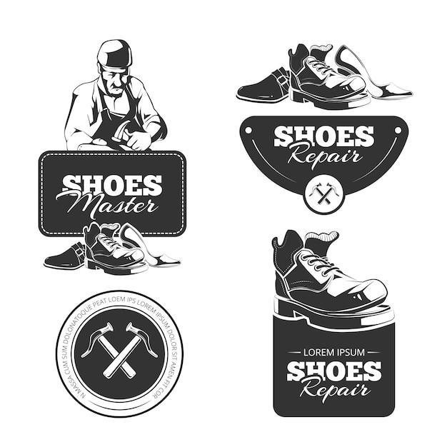 Set vintage di scarpe riparazione badge Vettore Premium