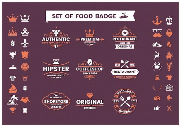Set vintage ristorante di loghi, distintivi di cibo e icone Vettore Premium
