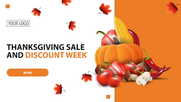 Settimana del ringraziamento vendita e sconto, modello di banner web minimalista bianco sconto Vettore Premium