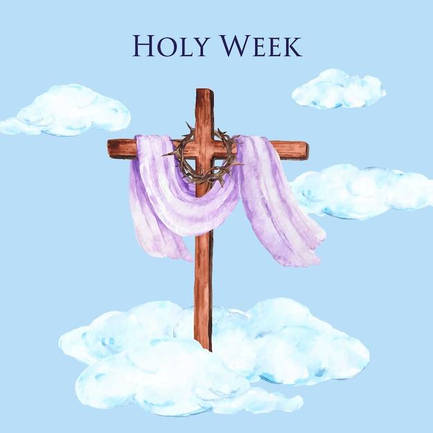 Settimana santa dell'acquerello Vettore gratuito