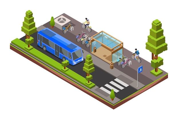 Sezione trasversale del bus isometrico. stazione di vetro 3d della città con le biciclette parcheggiate, ciclisti Vettore gratuito