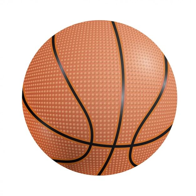 Sfera di pallacanestro su un bianco Vettore Premium