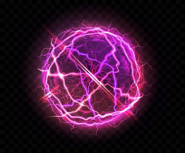 Sfera elettrica realistica o sfera al plasma astratta Vettore gratuito
