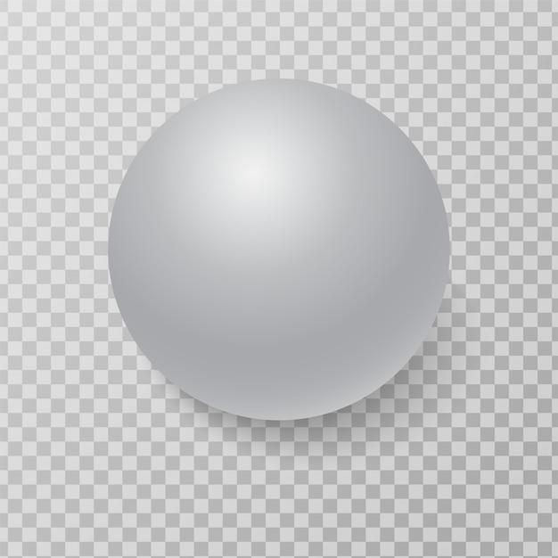 Sfera sfera bianca 3d con luci ed ombre realistiche. Vettore Premium